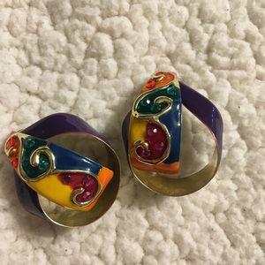 Jewelry - Art Deco Multi Color Earrings